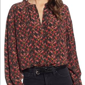 Something Navy Easy Volume Top - Floral Blouse